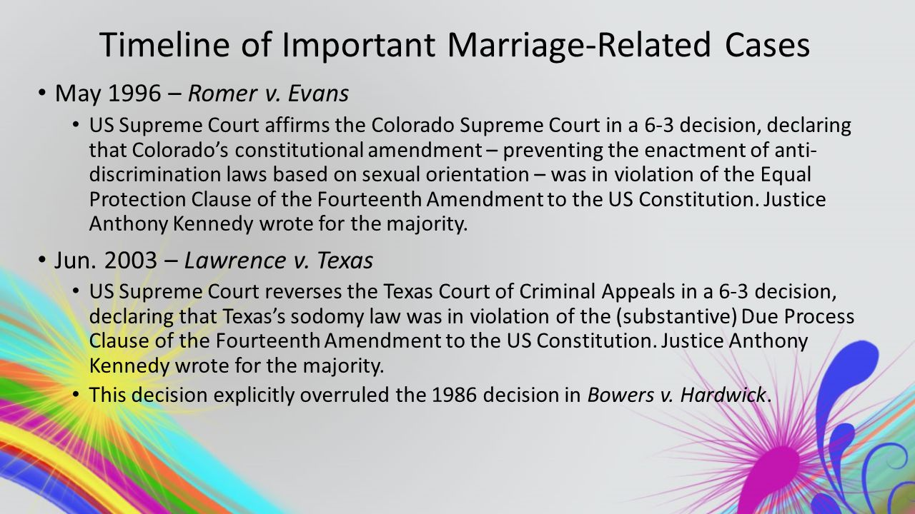 Timeline of Important Marriage-Related Cases May 1996 – Romer v.