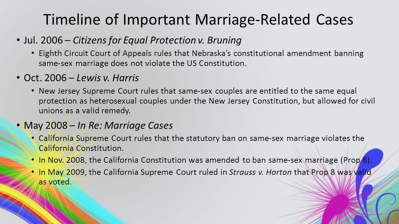 Timeline of Important Marriage-Related Cases Jul. 2006 – Citizens for Equal Protection v.