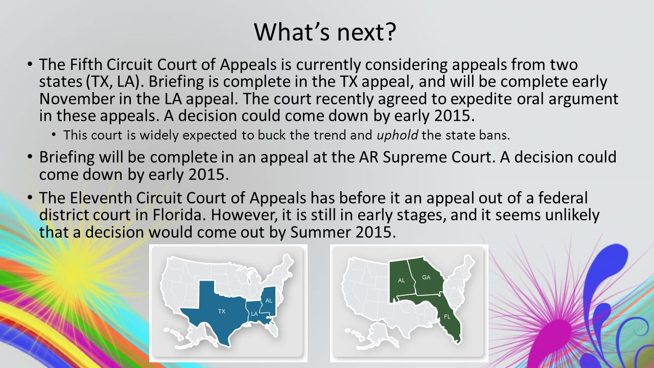 What's next? The Fifth Circuit Court of Appeals is currently considering appeals from two states (TX, LA). Briefing is complete in the TX appeal, and