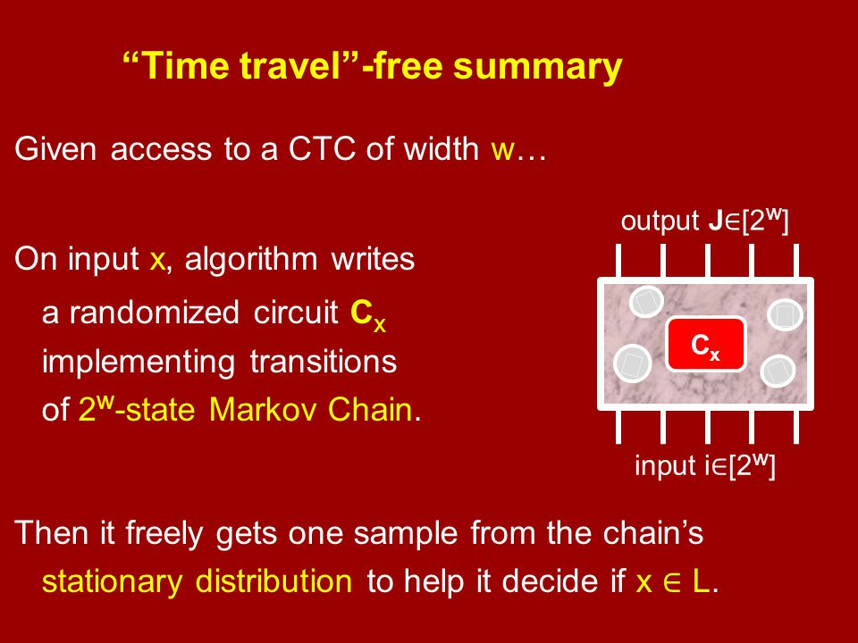 """Time travel""-free summary Given access to a CTC of width w… On input x, algorithm writes a randomized circuit C x implementing transitions of 2 w -st"