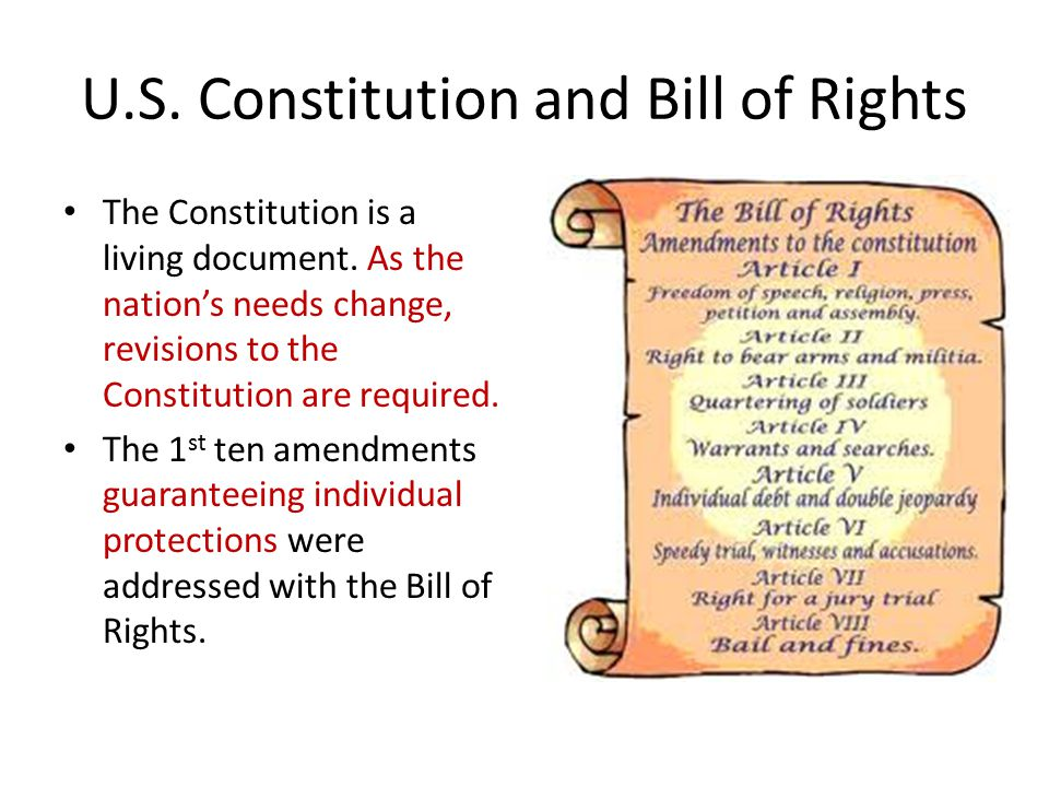 U.S.Constitution and Bill of Rights The Constitution is a living document.