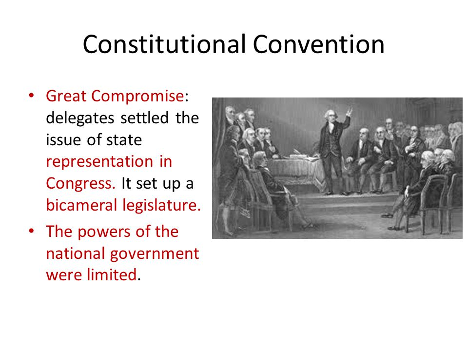 Constitutional Convention Great Compromise: delegates settled the issue of state representation in Congress.