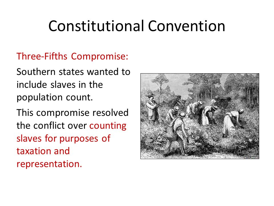 Constitutional Convention Three-Fifths Compromise: Southern states wanted to include slaves in the population count.