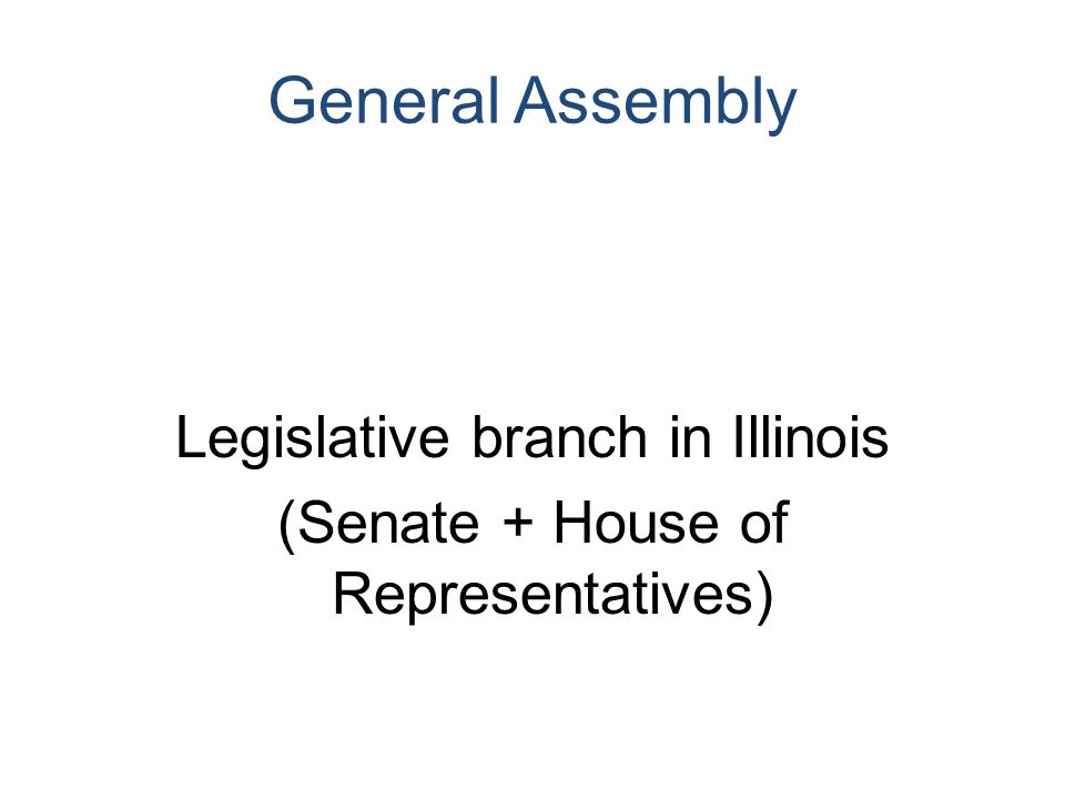 General Assembly Legislative branch in Illinois (Senate + House of Representatives)