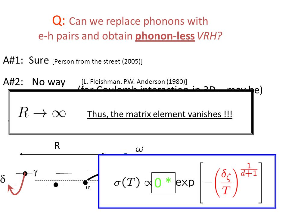 Q: Can we replace phonons with e-h pairs and obtain phonon-less VRH.