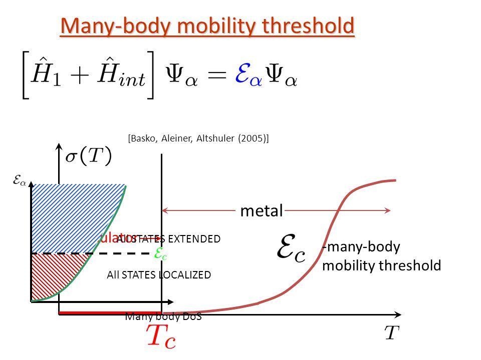Many-body mobility threshold insulator metal [Basko, Aleiner, Altshuler (2005)] Many body DoS All STATES LOCALIZED All STATES EXTENDED -many-body mobility threshold