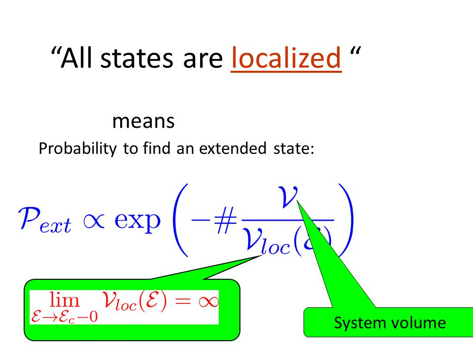 All states are localized means Probability to find an extended state: System volume