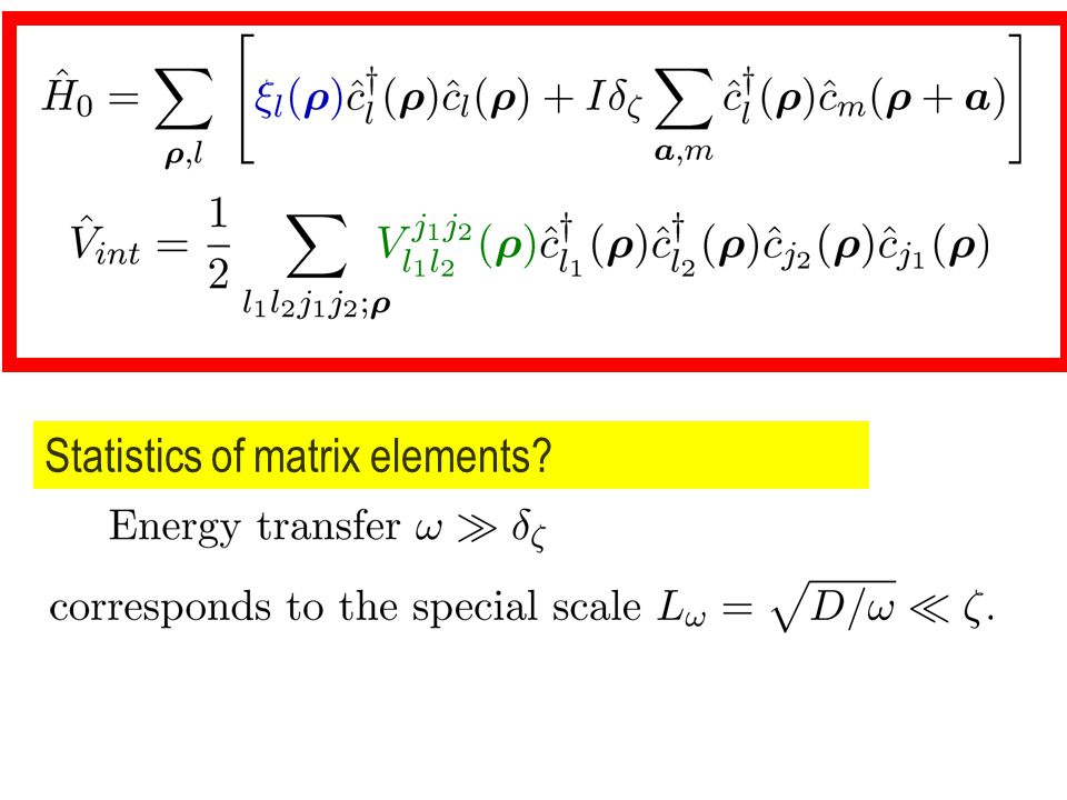 Statistics of matrix elements