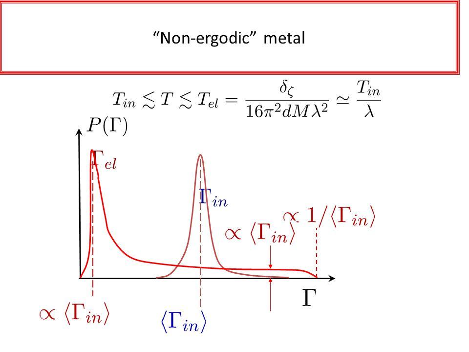 Probability Distributions Non-ergodic metal