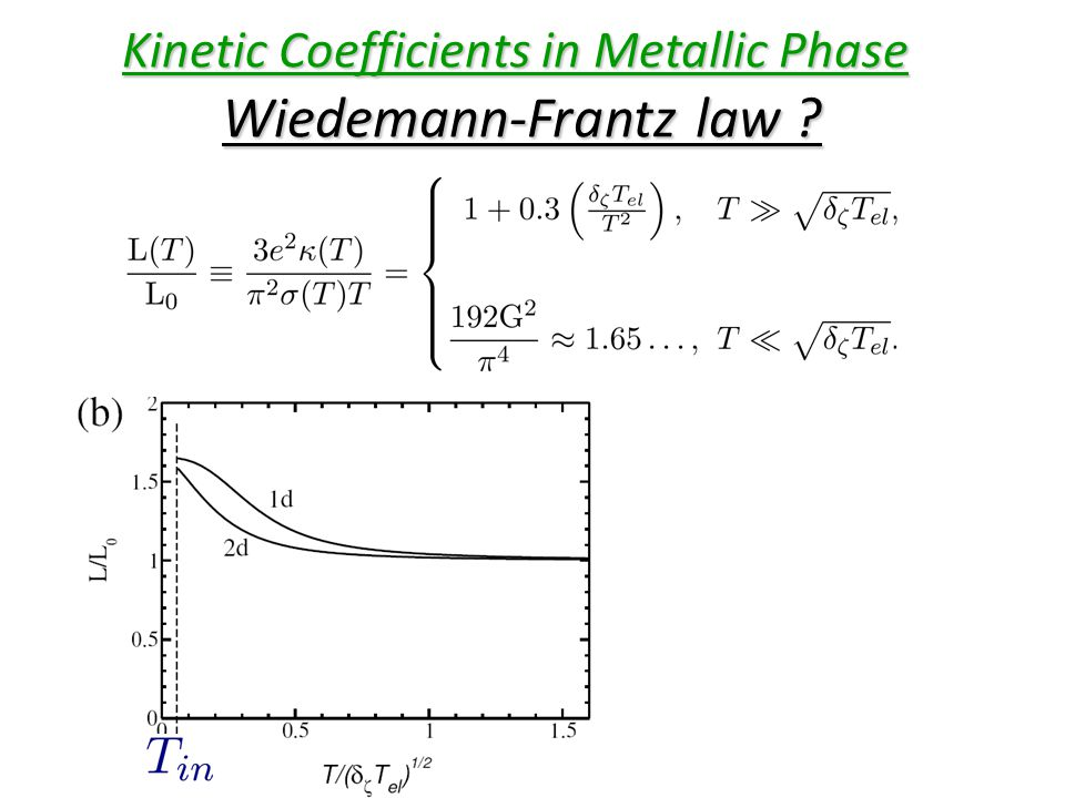 Kinetic Coefficients in Metallic Phase Wiedemann-Frantz law