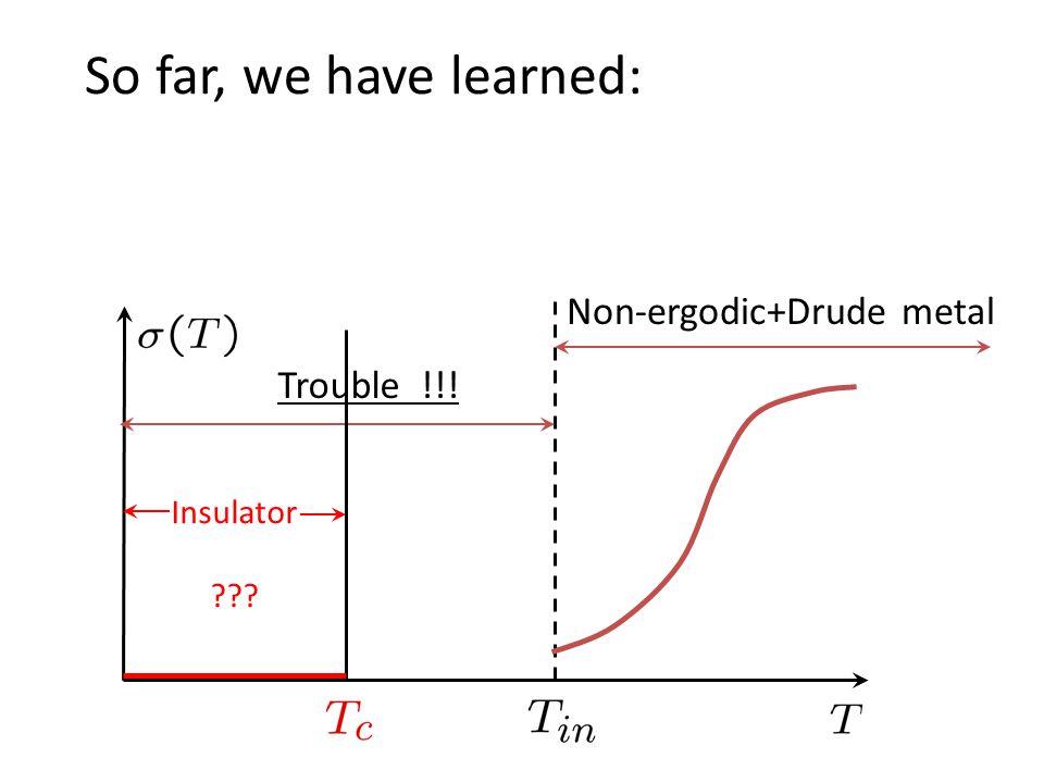 Non-ergodic+Drude metal So far, we have learned: Trouble !!! Insulator ???
