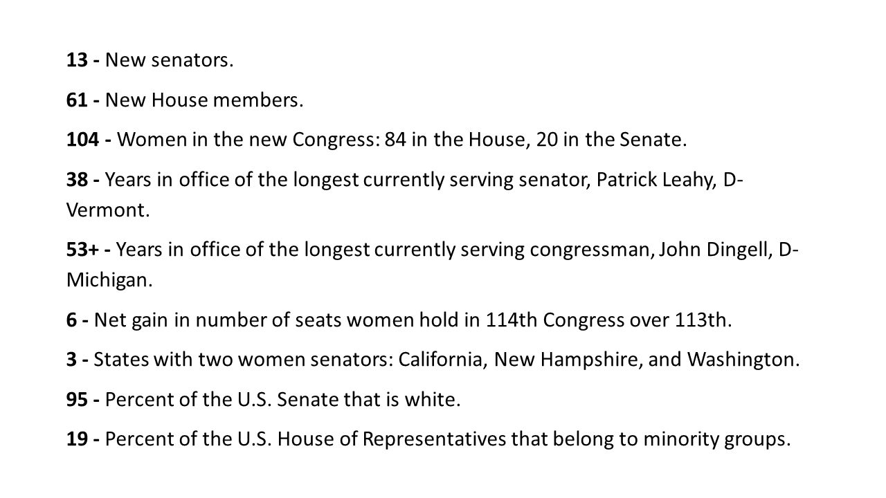 13 - New senators. 61 - New House members.