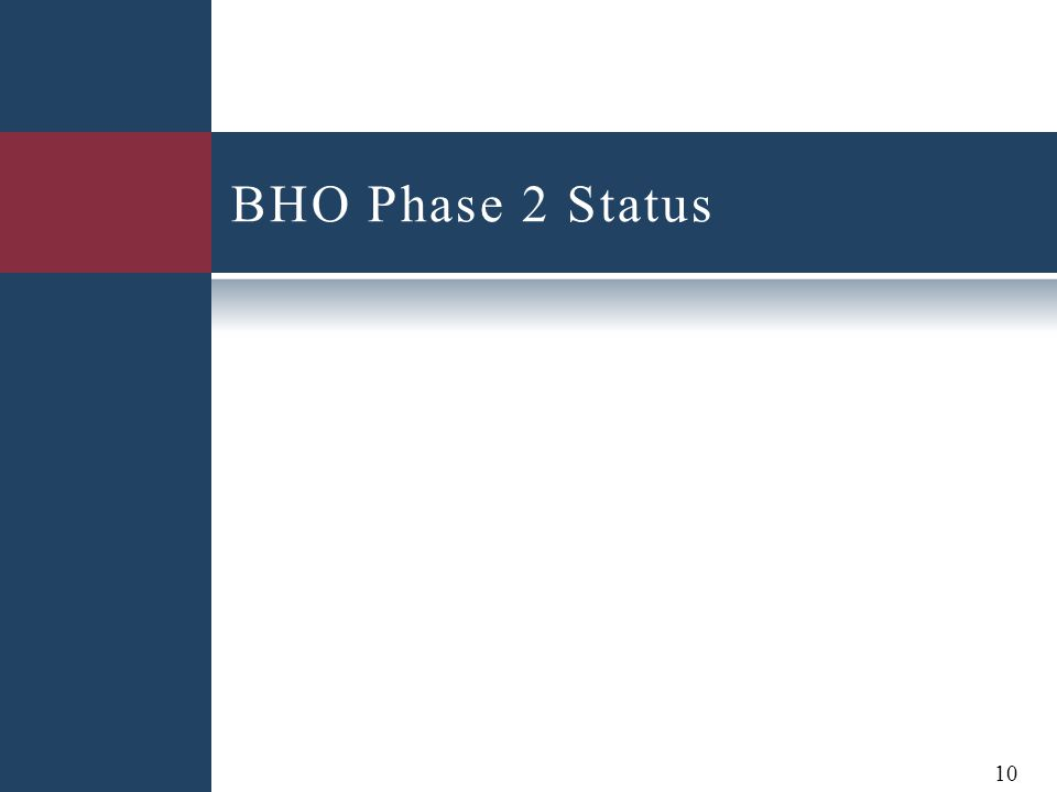 BHO Phase 2 Status 10