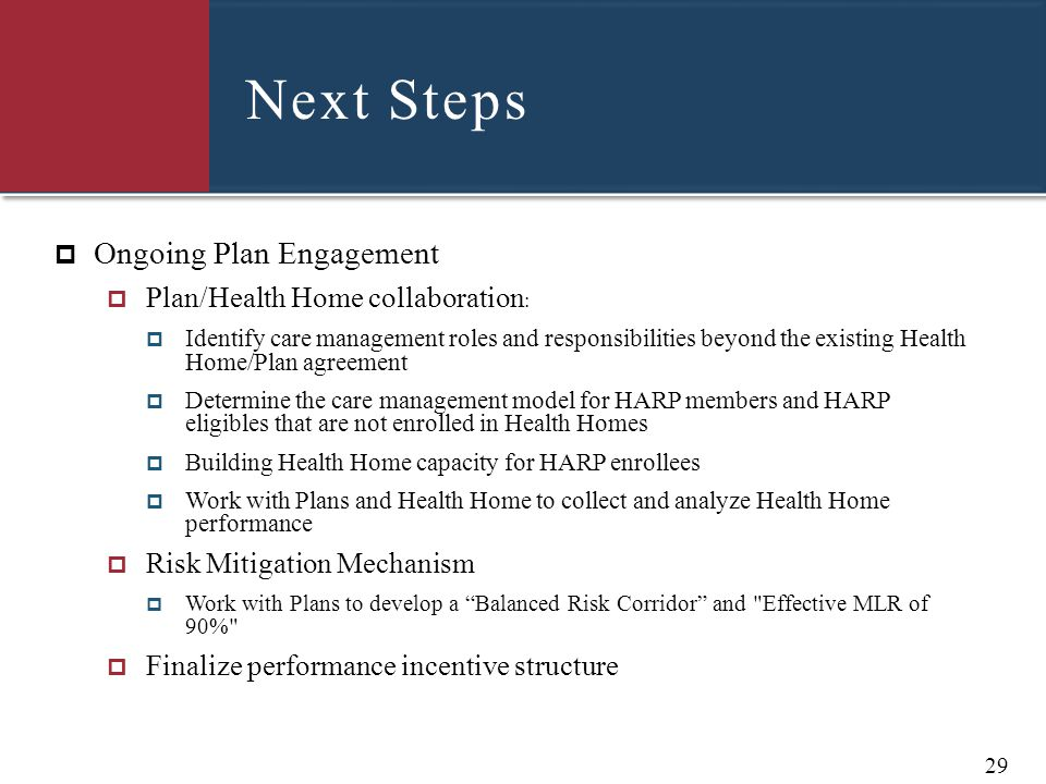 Next Steps  Ongoing Plan Engagement  Plan/Health Home collaboration :  Identify care management roles and responsibilities beyond the existing Heal