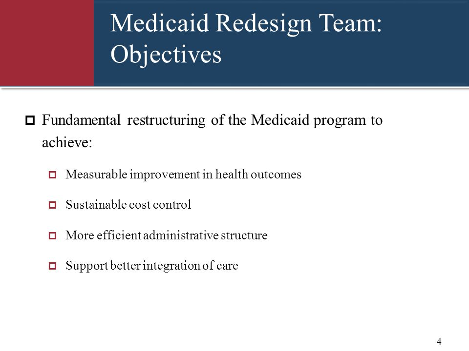 Medicaid Redesign Team BH Recommendations  Behavioral Health will be managed by:  Qualified health Plans meeting rigorous standards (perhaps in partnership with a BHO)  All Plans MUST qualify to manage currently carved out behavioral health services and populations  Plans can meet State standards internally or contract with a BHO to meet State standards  Health and Recovery Plans (HARPs) for individuals with significant behavioral health needs  Plans may choose to apply to be a HARP with expanded benefits 5