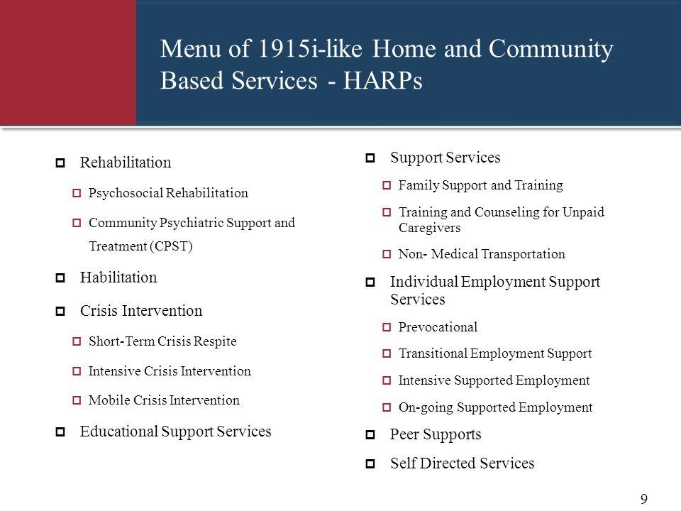 Menu of 1915i-like Home and Community Based Services - HARPs  Rehabilitation  Psychosocial Rehabilitation  Community Psychiatric Support and Treatm