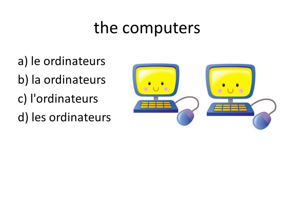 the computers a) le ordinateurs b) la ordinateurs c) l ordinateurs d) les ordinateurs