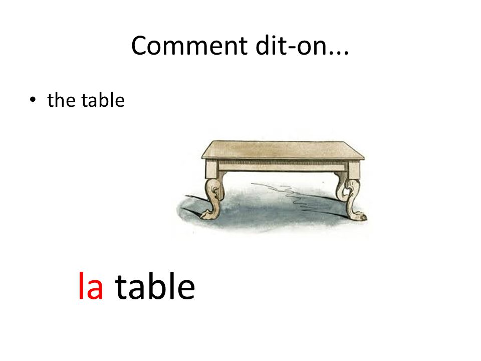 Comment dit-on... the table la table