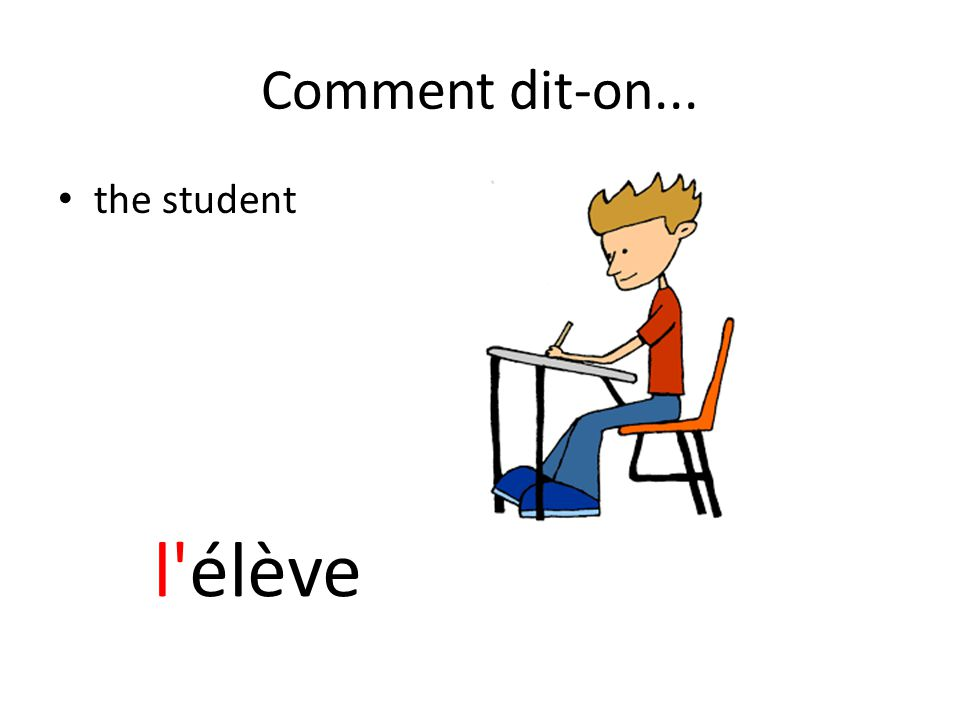 Comment dit-on... the student l élève