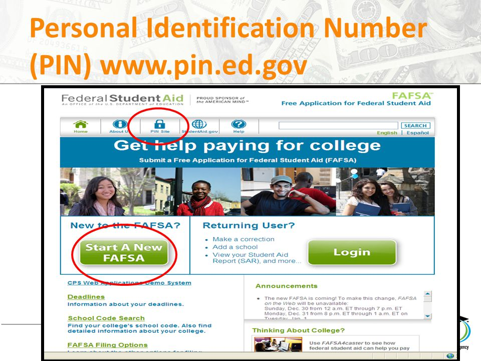 Personal Identification Number (PIN) www.pin.ed.gov