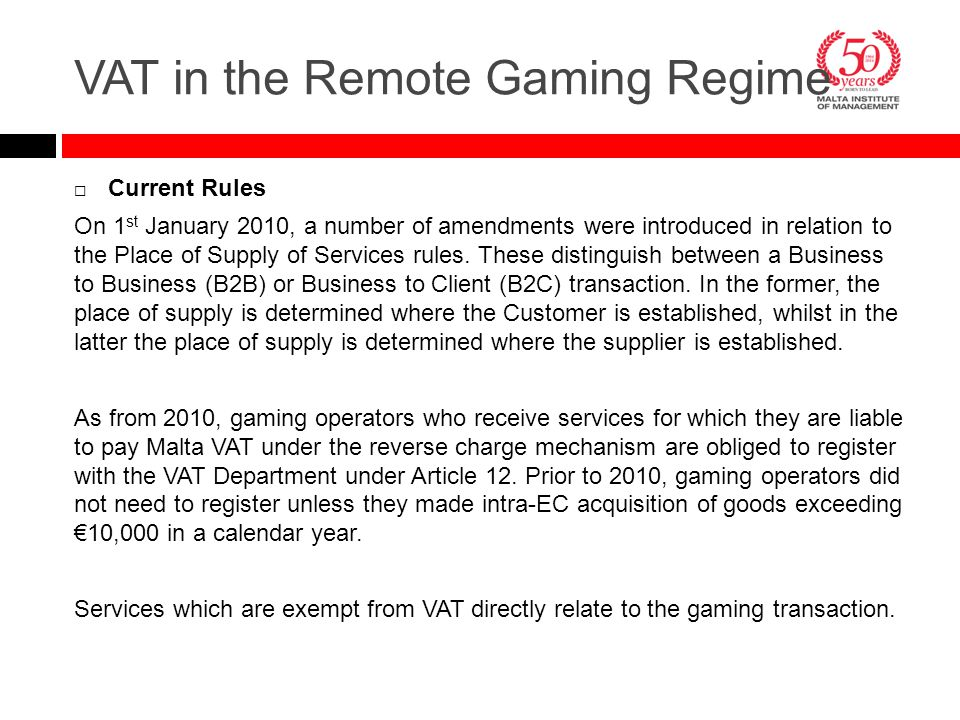  Current Rules On 1 st January 2010, a number of amendments were introduced in relation to the Place of Supply of Services rules. These distinguish b