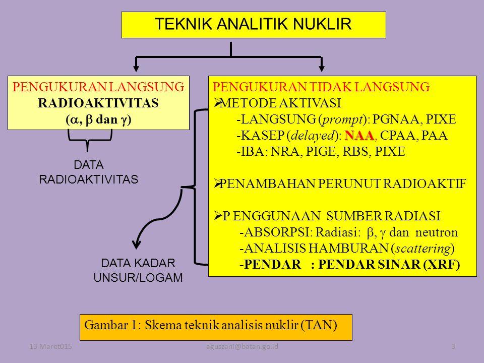 TEKNIK ANALITIK NUKLIR PENGUKURAN LANGSUNG RADIOAKTIVITAS ( ,  dan  ) PENGUKURAN TIDAK LANGSUNG  METODE AKTIVASI -LANGSUNG (prompt): PGNAA, PIXE N