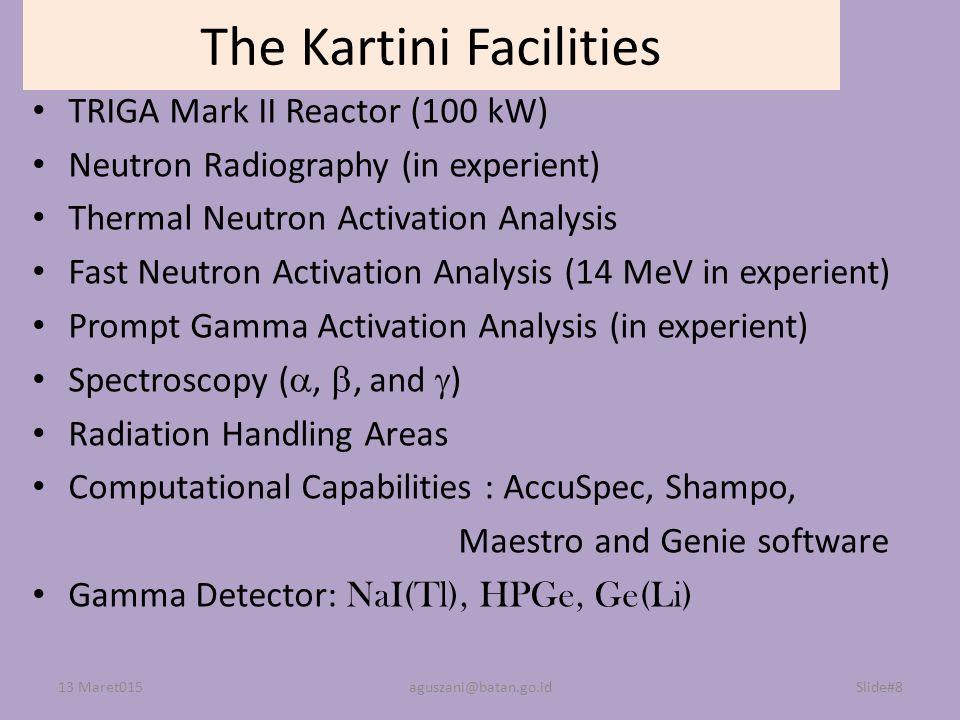 Slide#8 The Kartini Facilities TRIGA Mark II Reactor (100 kW) Neutron Radiography (in experient) Thermal Neutron Activation Analysis Fast Neutron Acti