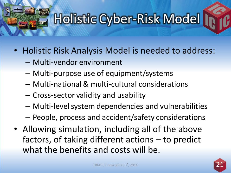 Holistic Risk Analysis Model is needed to address: – Multi-vendor environment – Multi-purpose use of equipment/systems – Multi-national & multi-cultural considerations – Cross-sector validity and usability – Multi-level system dependencies and vulnerabilities – People, process and accident/safety considerations Allowing simulation, including all of the above factors, of taking different actions – to predict what the benefits and costs will be.