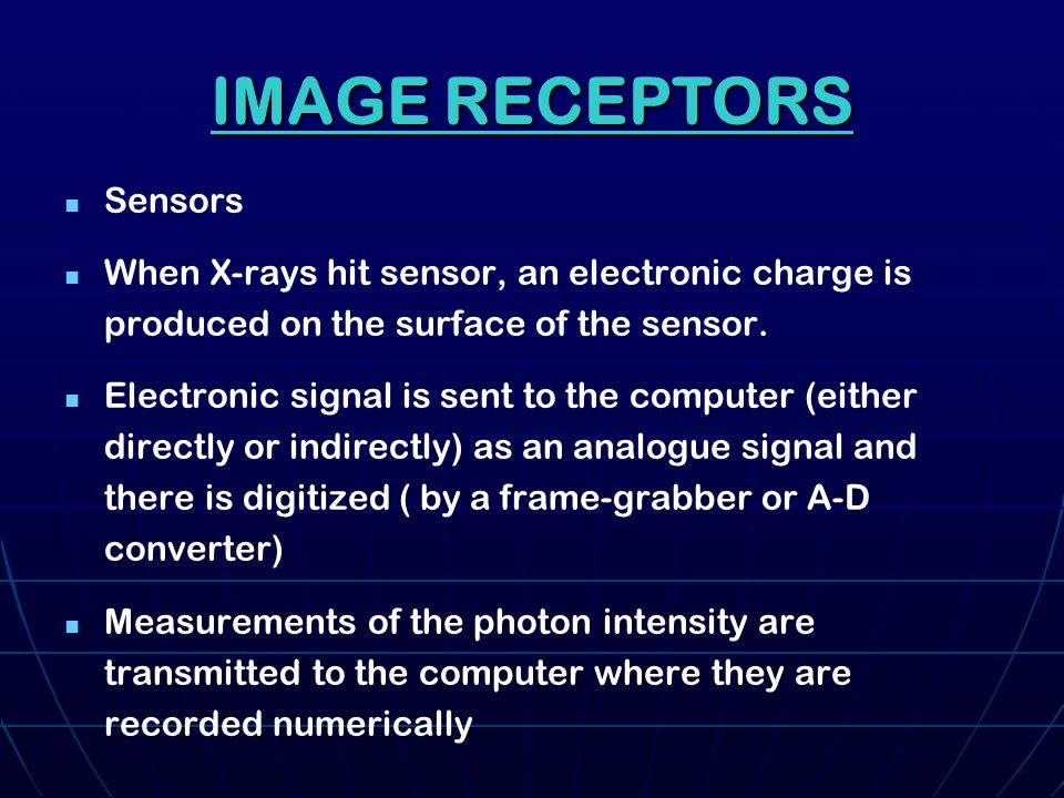 Quality diagnostic images Quality diagnostic images Radiation dose less than film Radiation dose less than film Lossless archiving is allowed in an image file format DICOM compatible Lossless archiving is allowed in an image file format DICOM compatible ESSENTAIALS OF ANY SYSTEM