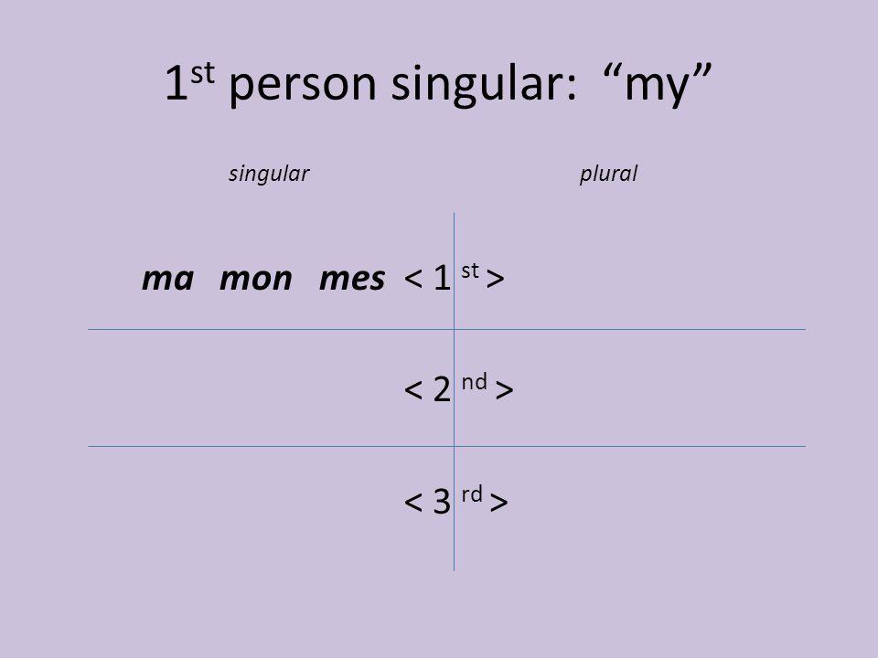 "1 st person singular: ""my"" singularplural ma mon mes"