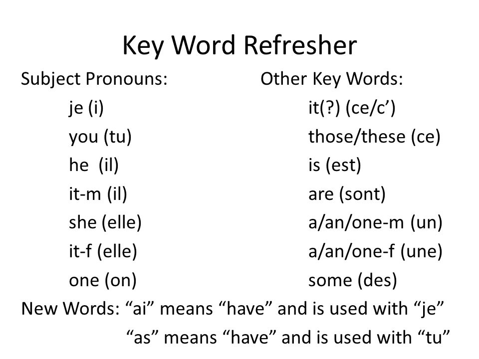 Key Word Refresher Subject Pronouns:Other Key Words: je (i)it(?) (ce/c') you (tu)those/these (ce) he (il)is (est) it-m (il)are (sont) she (elle)a/an/o