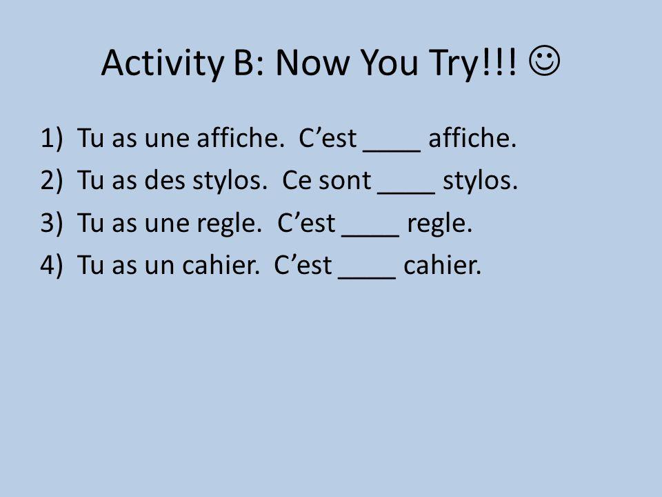 Activity B: Now You Try!!! 1)Tu as une affiche. C'est ____ affiche. 2)Tu as des stylos. Ce sont ____ stylos. 3)Tu as une regle. C'est ____ regle. 4)Tu