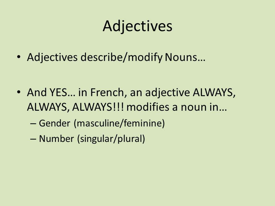 Adjectives Adjectives describe/modify Nouns… And YES… in French, an adjective ALWAYS, ALWAYS, ALWAYS!!! modifies a noun in… – Gender (masculine/femini
