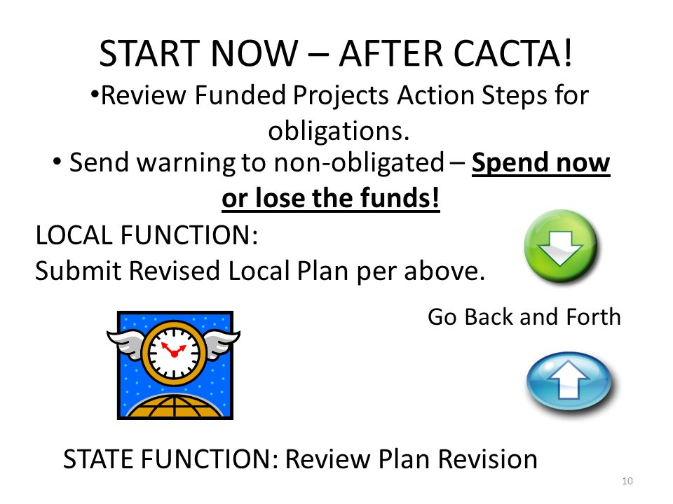START NOW – AFTER CACTA. Review Funded Projects Action Steps for obligations.