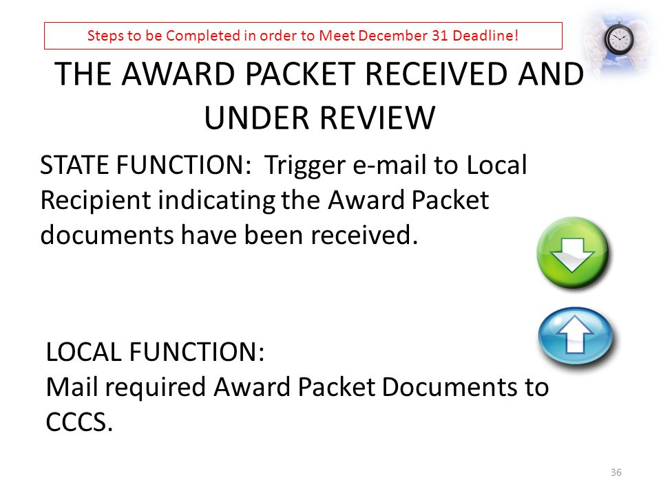 THE AWARD PACKET RECEIVED AND UNDER REVIEW STATE FUNCTION: Trigger e-mail to Local Recipient indicating the Award Packet documents have been received.