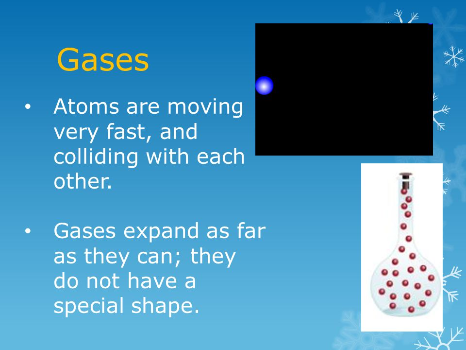 Gases Atoms are moving very fast, and colliding with each other.