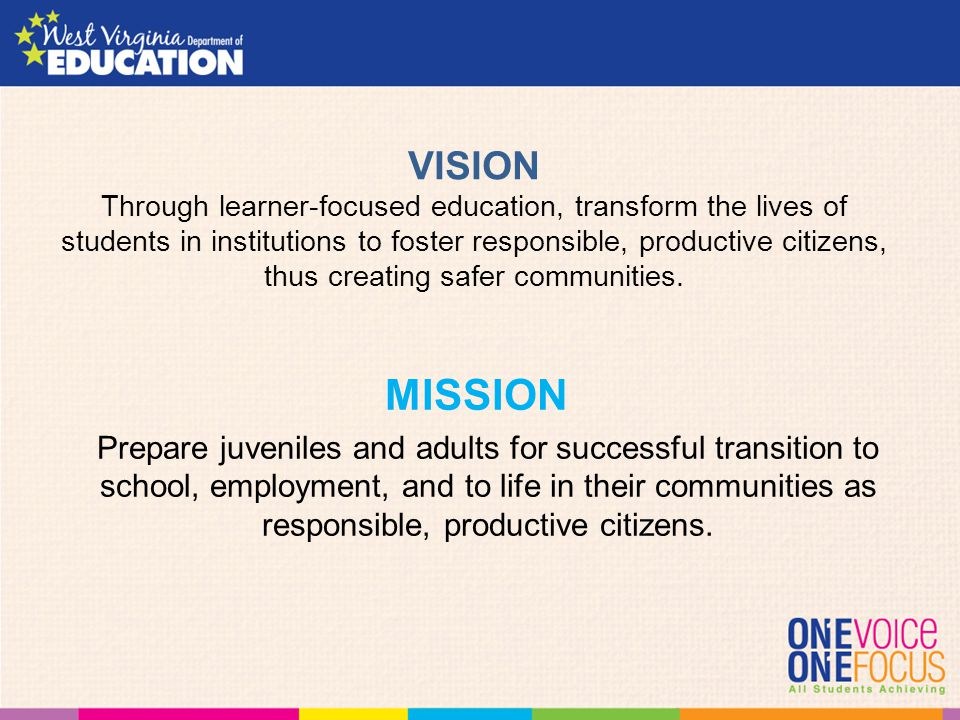 VISION Through learner-focused education, transform the lives of students in institutions to foster responsible, productive citizens, thus creating sa