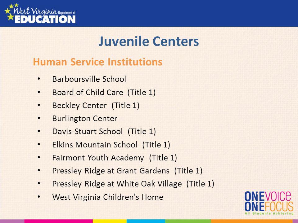 Juvenile Centers Barboursville School Board of Child Care (Title 1) Beckley Center (Title 1) Burlington Center Davis-Stuart School (Title 1) Elkins Mo