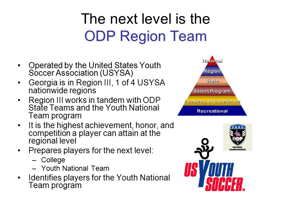 ODP Region Team The next level is the ODP Region Team Operated by the United States Youth Soccer Association (USYSA)Operated by the United States Youth Soccer Association (USYSA) Georgia is in Region III, 1 of 4 USYSA nationwide regions Region III works in tandem with ODP State Teams and the Youth National Team program It is the highest achievement, honor, and competition a player can attain at the regional level Prepares players for the next level: –College –Youth National Team Identifies players for the Youth National Team program National Region State Select Program Academy of Excellence Recreational Region