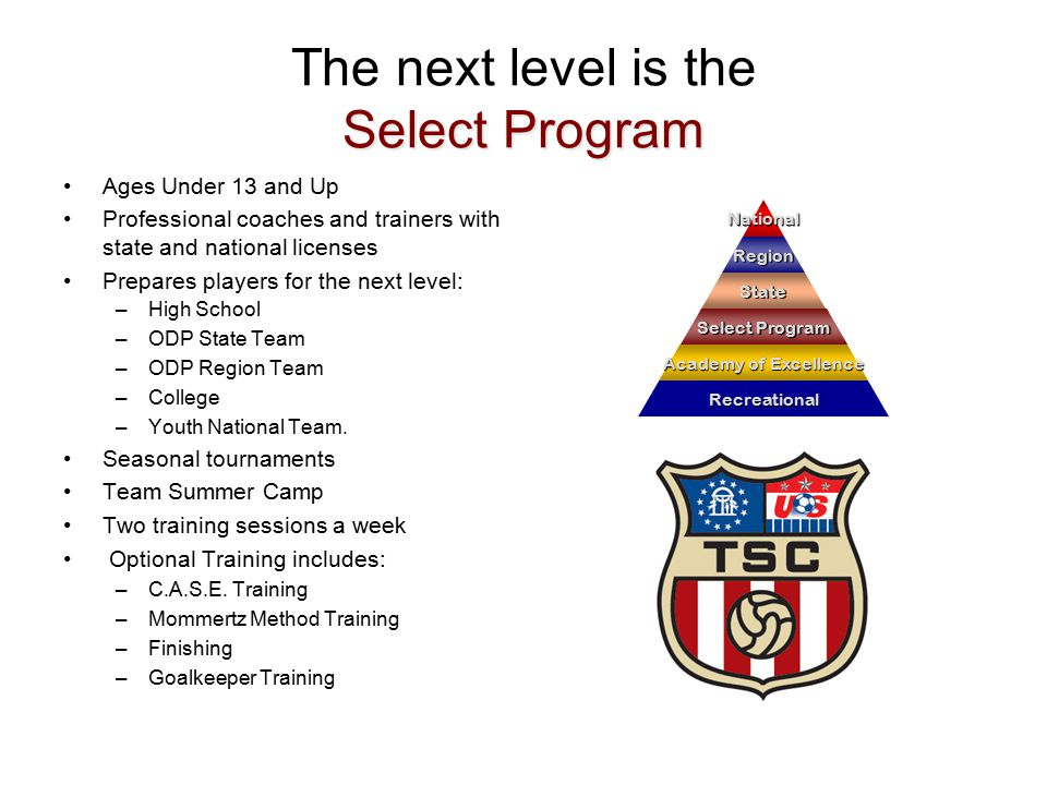 Select Program The next level is the Select Program Ages Under 13 and Up Professional coaches and trainers with state and national licenses Prepares players for the next level: –High School –ODP State Team –ODP Region Team –College –Youth National Team.