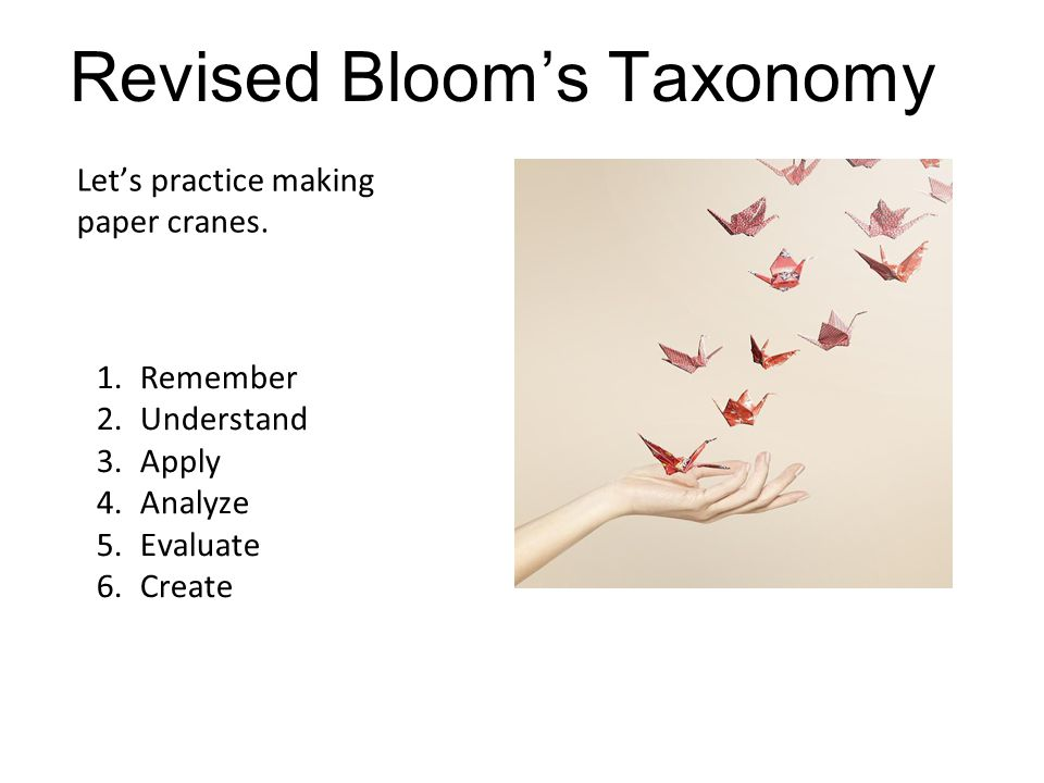 Apply Let's practice making paper cranes. Revised Bloom's Taxonomy 1.Remember 2.Understand 3.Apply 4.Analyze 5.Evaluate 6.Create