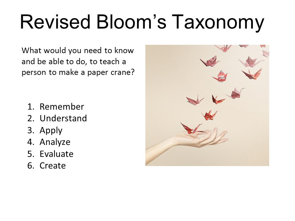 Analyze What would you need to know and be able to do, to teach a person to make a paper crane? Revised Bloom's Taxonomy 1.Remember 2.Understand 3.App