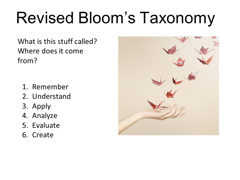 Remember What is this stuff called? Where does it come from? Revised Bloom's Taxonomy 1.Remember 2.Understand 3.Apply 4.Analyze 5.Evaluate 6.Create