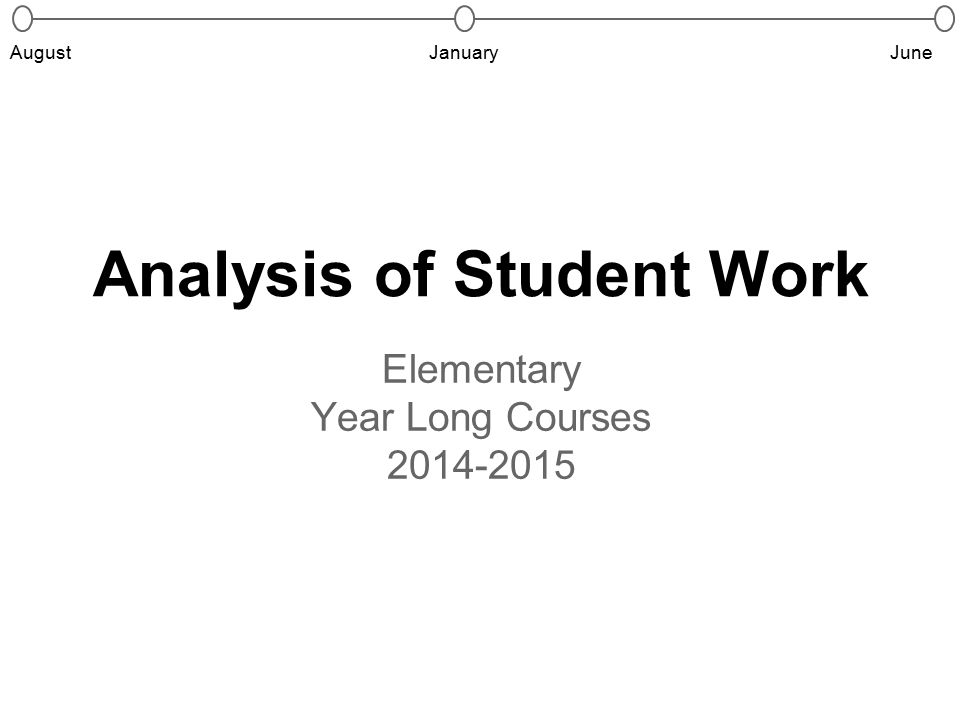 Analysis of Student Work Elementary Year Long Courses 2014-2015 JanuaryJuneAugust