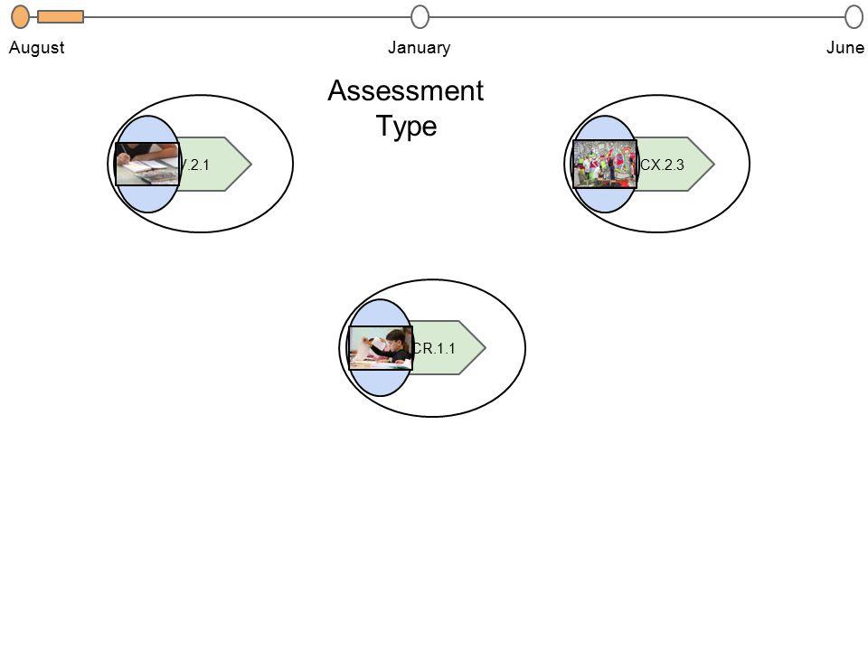 JanuaryJuneAugust 2.V.2.1 4.CR.1.1 3.CX.2.3 Assessment Type