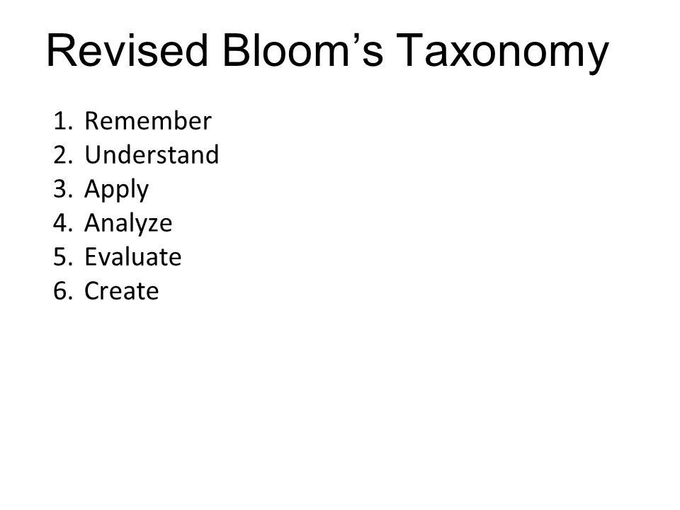 1.Remember 2.Understand 3.Apply 4.Analyze 5.Evaluate 6.Create Revised Bloom's Taxonomy