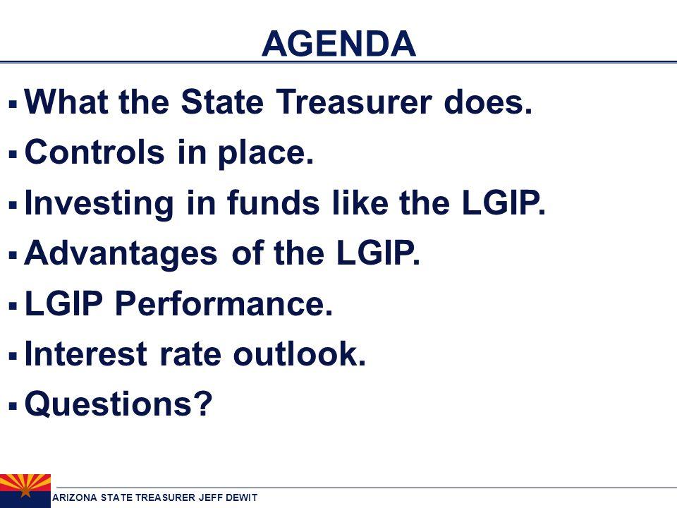 ARIZONA STATE TREASURER JEFF DEWIT AGENDA  What the State Treasurer does.