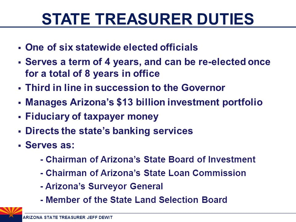 ARIZONA STATE TREASURER JEFF DEWIT INVESTMENTS  More than $12.9 Billion in 25 different investment pools spread across 1,300 separate accounts broken into three major sources: 1.