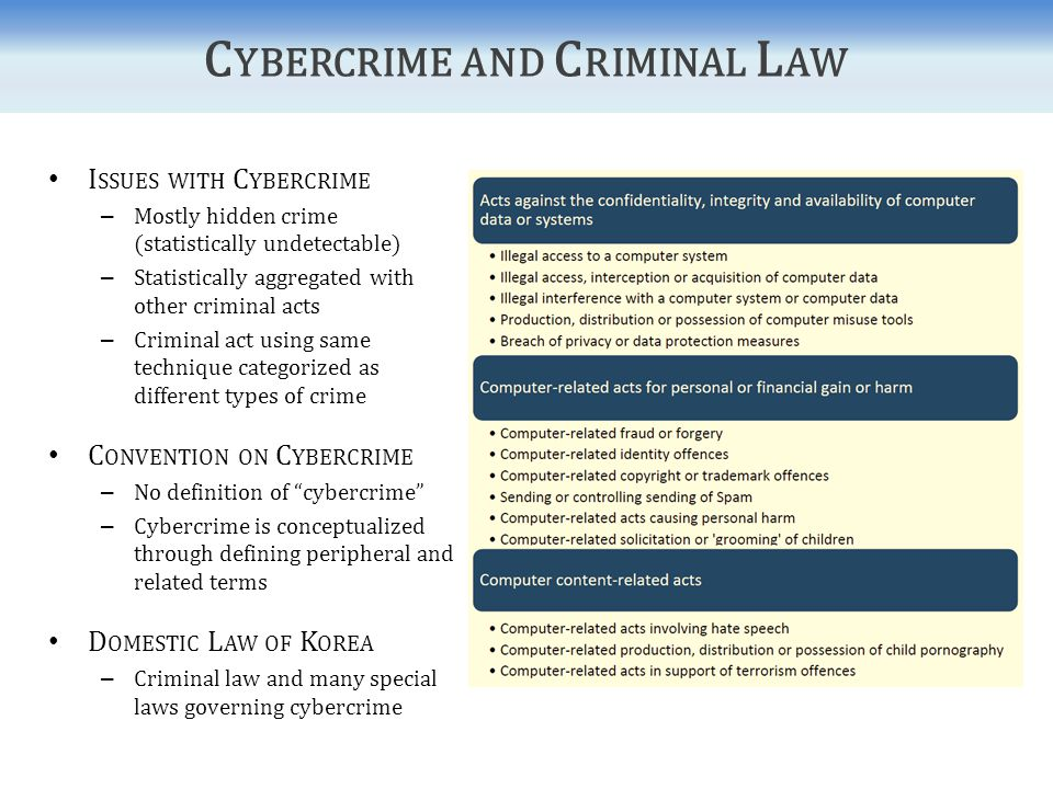 Penalty Provisions for Cybercrime under Korean Law Criminal Act Special Laws Article 141-1Invalidity of Public Documents and Destruction of Public Goods Article 227-2False Preparation or Alteration of Public Electromagnetic Records Article 229Uttering of Falsified Public Document Article 232-2Falsification or Alteration of Private Electromagnetic Records Article 234Uttering of Falsified Private Document Article 316-2Violation of Secrecy of Private Electromagnetic Records Article 347-2Fraud by Use of Computer Act on the Protection of Information and Communications Infrastructure Act on Promotion of Information and Communications Network Utilization Framework Act on Telecommunications Protection of Communications Secrecy Act Personal Information Protection Act Act on the Protection of Location Information Use and Protection of Credit Information Act Digital Signature Act Copyright Act Act on Special Cases Concerning Punishment of Sexual Crimes Act on Special Cases Concerning Speculative Acts