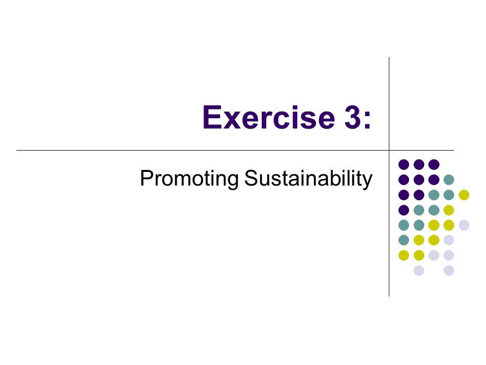 Exercise 3: Promoting Sustainability